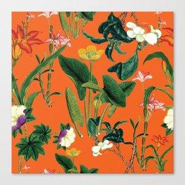 Vintage wild flowers orange Canvas Print