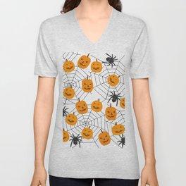 Halloween Pattern Spider Pumpkin Unisex V-Neck