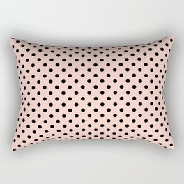 Small black polka dots on a pink beige background. Rectangular Pillow