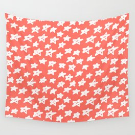 Stars Living Coral Wall Tapestry
