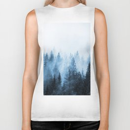 Misty Winter Forest Biker Tank