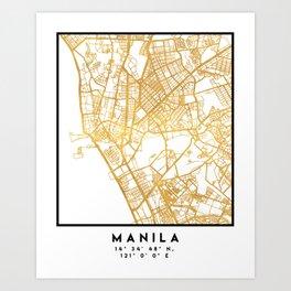 MANILA PHILIPPINES CITY STREET MAP ART Art Print