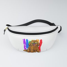 Adorable Dog With Rainbow Heart Glasses Fanny Pack