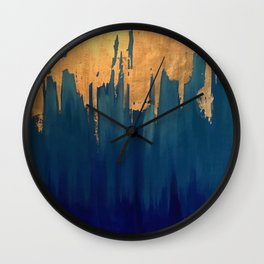 Gold Leaf & Blue Abstract Wall Clock