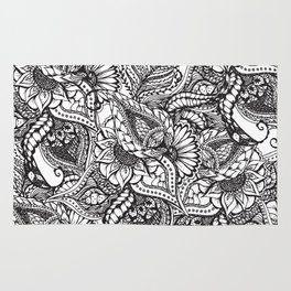 Modern black and white hand drawn floral pattern Rug