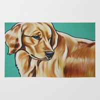 golden retriever Area & Throw Rugs featuring Golden Retriever Painting by Cheney Beshara