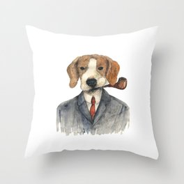 Monsieur Beagle Throw Pillow