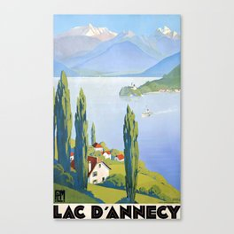 French vintage travel poster Annecy France Canvas Print
