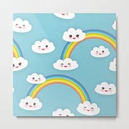 Kawaii funny white clouds set, muzzle with pink cheeks and winking eyes. blue pattern Metal Print