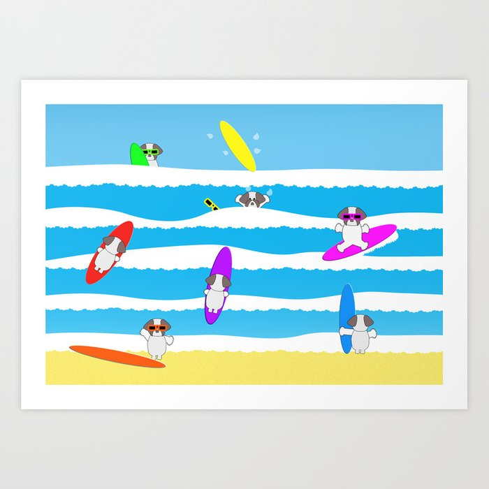 Totally Shih Tzu Surf Art Print