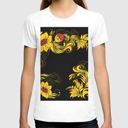 Golden floral ornament T-shirt