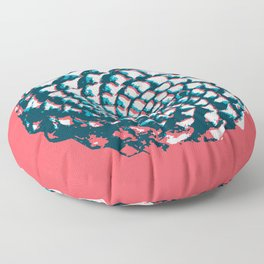 pine cone pattern in coral, aqua and indigo Floor Pillow