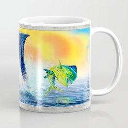 Jumping blue Marlin Chasing Bull Dolphins Coffee Mug