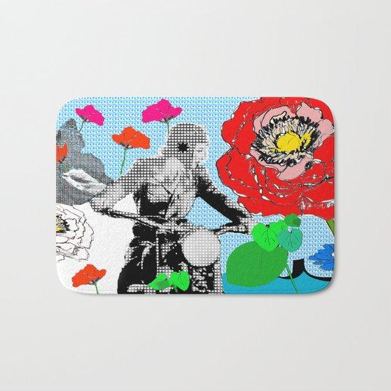 Red Flowers and Lady biking Bath Mat