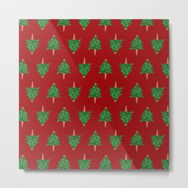 Christmas Tree Hand Drawing Pattern on Red Metal Print