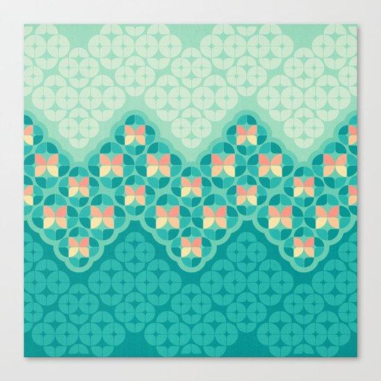 Blue Garden Pattern Canvas Print
