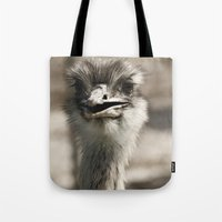 ostrich Tote Bags featuring Ostrich by Raymond Earley