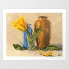 Yellow Rose with Brown Vase Art Print