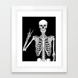 Human skeleton posing isolated over black background vector illustration Framed Art Print
