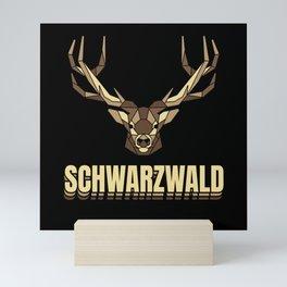 Schwarzwald Hirsch Geweih Low Polygon Schwaben Mini Art Print