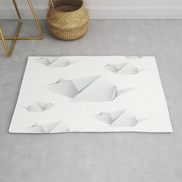 Paper folded white mouse or rat design Rug