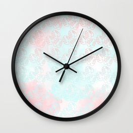 turquoise and light rose palm leaves Wall Clock