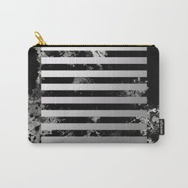 Industrial Action - Metallic, black and white, abstract, geometric, textured painting Carry-All Pouch