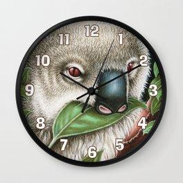 Koala Munching a Leaf Wall Clock