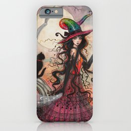 October Flame Halloween Witch and Black Cat Illustration iPhone Case