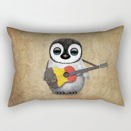 Baby Penguin Playing Belgian Flag Acoustic Guitar Rectangular Pillow