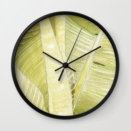 Banana Leaves Watercolor Wall Clock