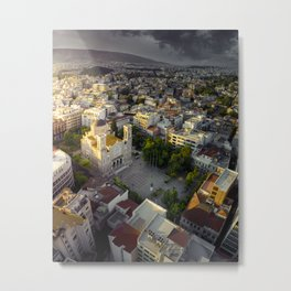 Sunrise over ancient city of Athens Metal Print