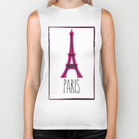 eiffel Biker Tanks featuring Eiffel by Vintage Fox