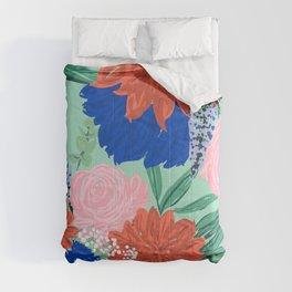 Stylish Flowers Bouquet Hand Paint Mint Design Comforters
