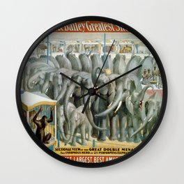 Vintage poster - Performing Elephants Wall Clock
