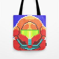 metroid Tote Bags featuring Metroid Tiles by James Brunner