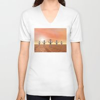 zombies V-neck T-shirts featuring Zombies by Phil Perkins