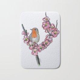 Robin And Peach Blossoms Bath Mat