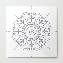 Grey & White Mandala Metal Print