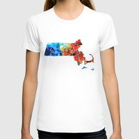 patriots T-shirts featuring Massachusetts - Map Counties By Sharon Cummings by Sharon Cummings