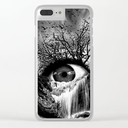 Cascade Crying Eye grayscale Clear iPhone Case