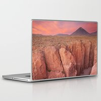 chile Laptop & iPad Skins featuring II - Narrow canyon and Volcan Licancabur, Atacama Desert, Chile at sunset by Sara Winter