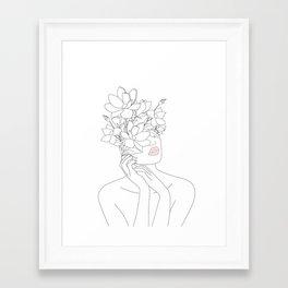 Minimal Line Art Woman with Magnolia Framed Art Print