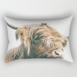 Majestic Highland cow portrait Rectangular Pillow