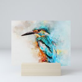Watercolor kingfisher bird Mini Art Print