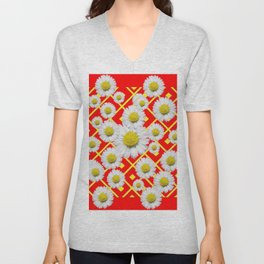 White-Yellow Shasta Daisies Red Pattern Art Unisex V-Neck