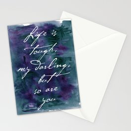 Life is Tough in Navy Blue Stationery Cards