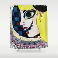 mad hatter Shower Curtains featuring Mad Hatter in wonderland by Scenccentric Creations