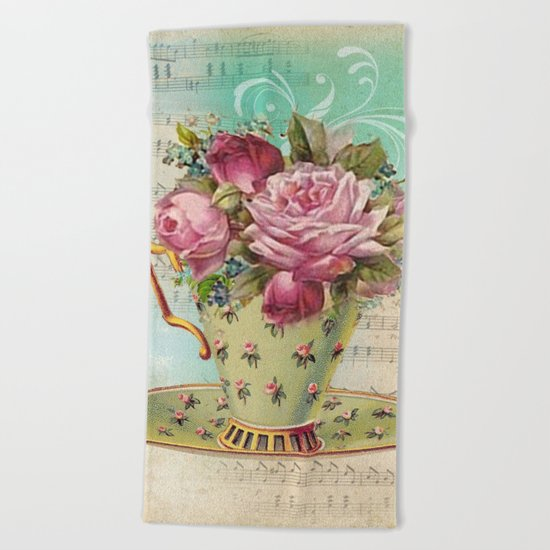 Tea flowers #6 Beach Towel