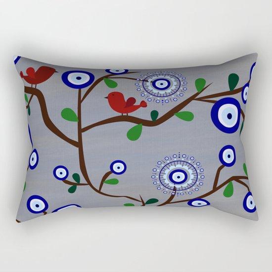 Lucky Evil Eye Bird Tree Rectangular Pillow